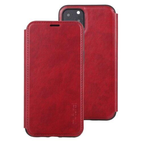 Кожаный чехол книжка для iPhone 11 Pro Max Mutural с подставкой и разъемом для карточек (Red)