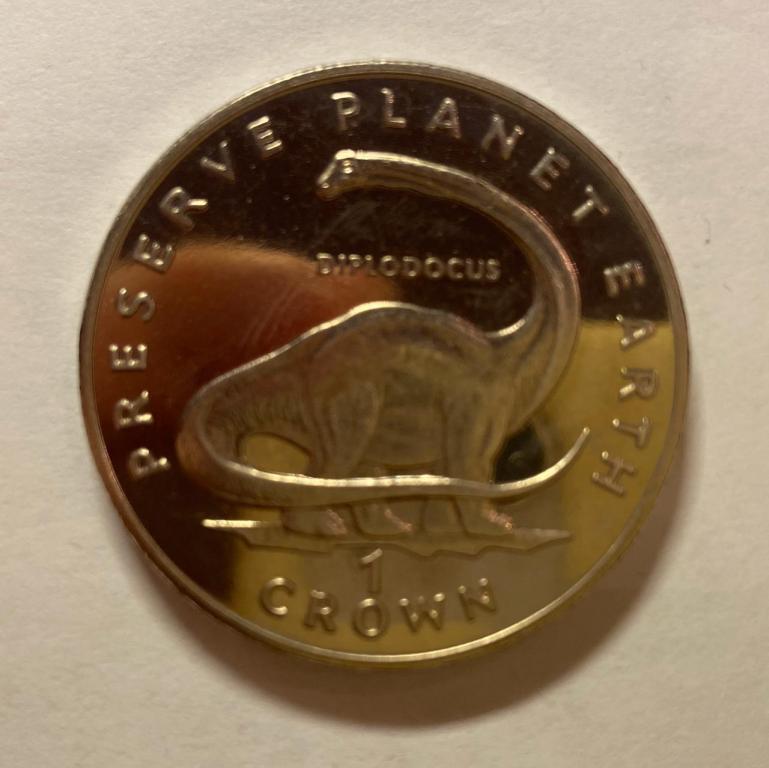 Остров Мэн 1 крона 1993 г Фауна Динозавры