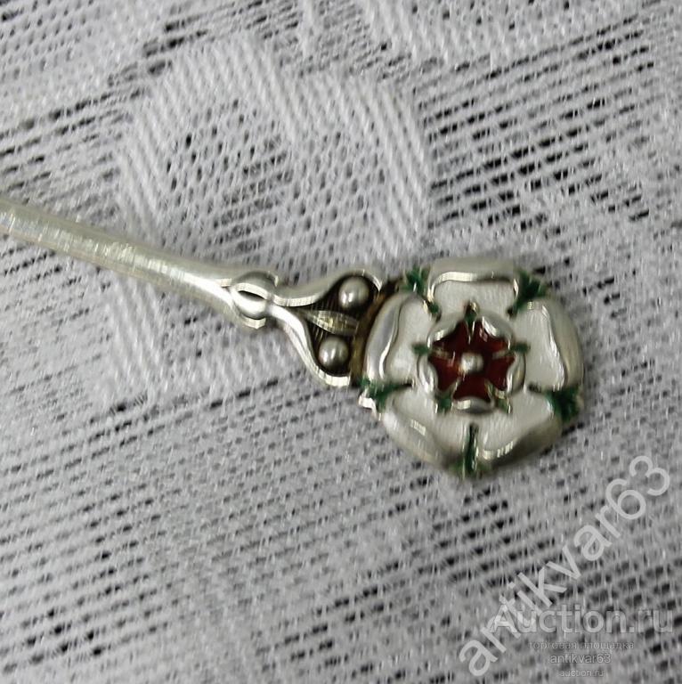 Ложка сувенирная «Цветок», эмаль, Англия, серебро 925 пр, вес 13 гр.