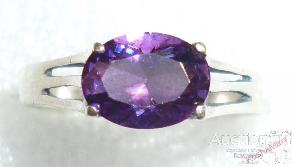 Кольцо Р18,5мм с темно-фиолетовым АМЕТИСТОМ ? Серебро 925 пр