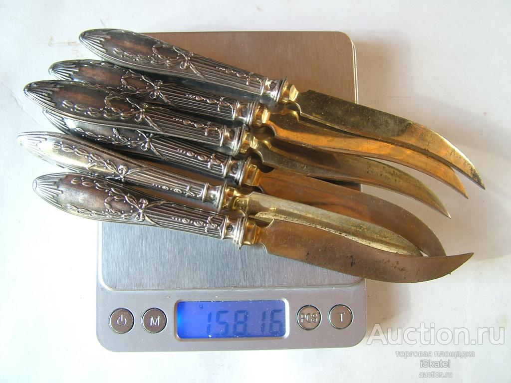 Набор 6 десертных ножей. Серебро 84