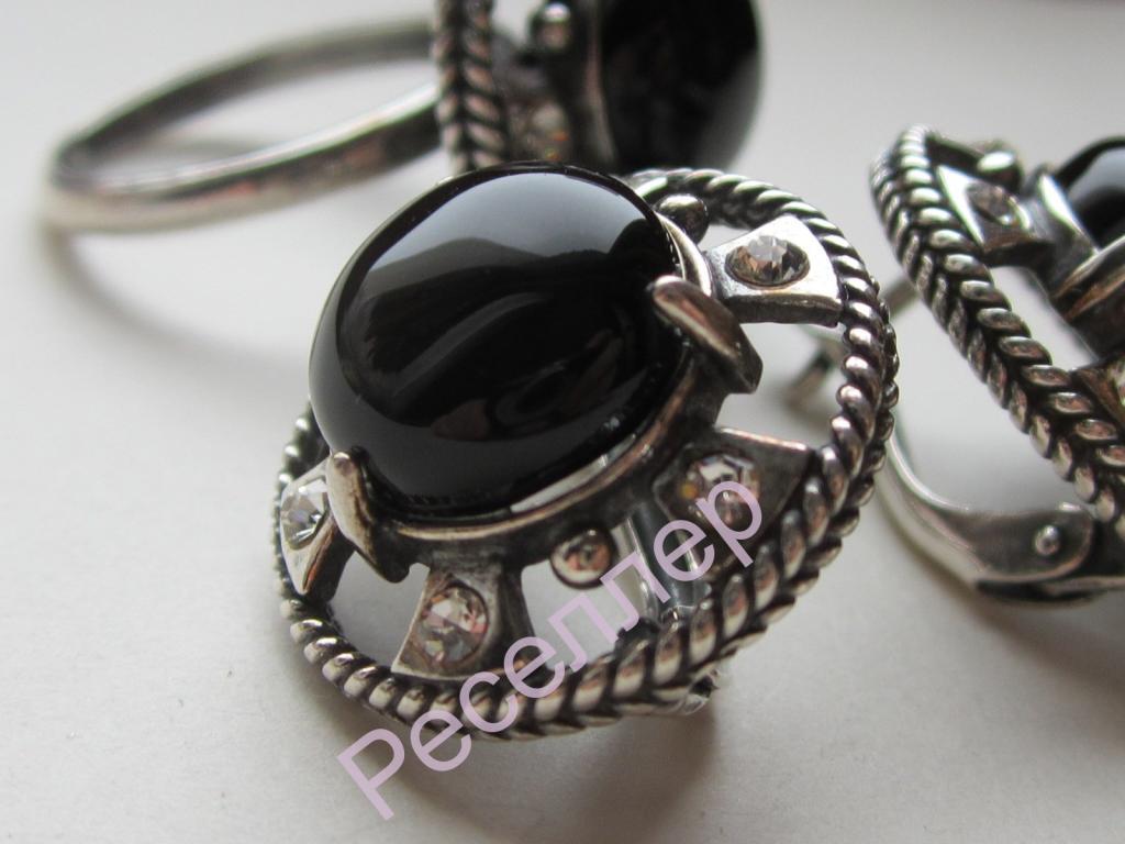 Серьги + кольцо с камнем
