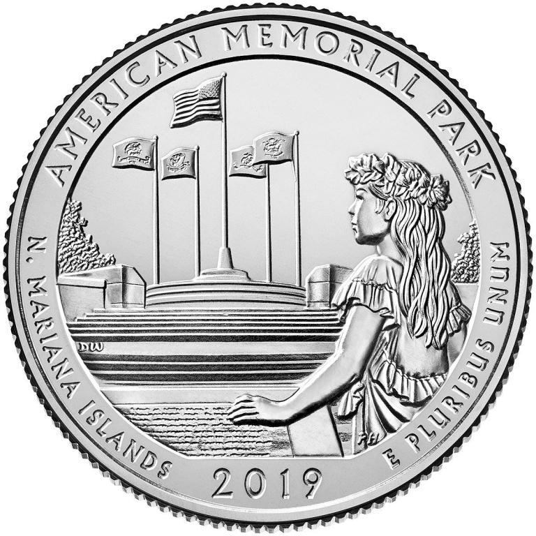 47-й парк США Американский мемориальный парк 25 центов 2019 двор P