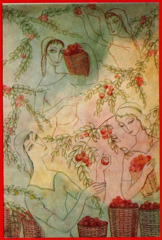 95305 Сбор фруктов гудиашвили Грузия грузинка девушка Красавица яблоки яблоня Яблоневый сад Кавказ