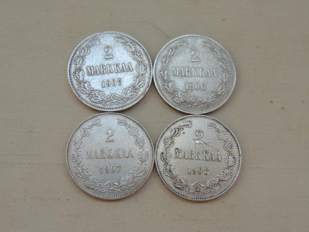 2 Марки 1905 1906 1907 1908 г 4 шт Серебро Оригинал с рубля