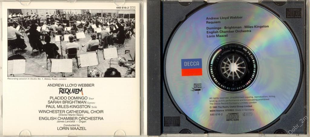 Andrew Lloyd Webber – Requiem 1985 made in Germany Sarah Brightman, Placido Domingo  отл.сост.#