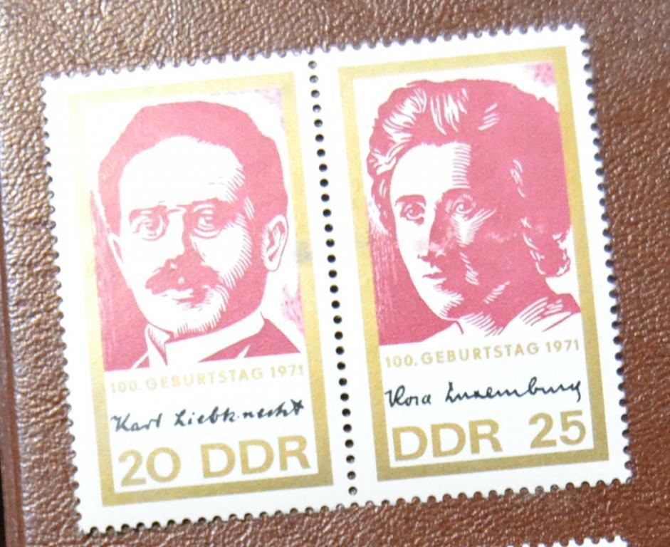 ГДР 1971 Mi 1650-51. 100 лет со дня рождения Розы Люксембург и Карла Либкнехта.MNH