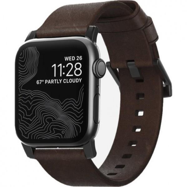 Ремешок Nomad Modern Strap для Apple Watch 40mm/38mm. Материал кожа натуральная. Цвет ремешок темно
