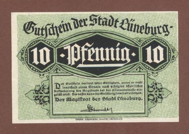 Нотгельд LUNEBURG 10 пфеннингов 1920 год UNC