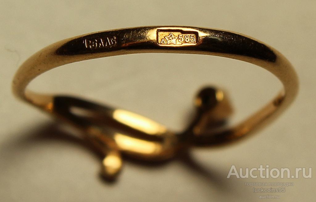 Золотое кольцо с полудрагоценным камнем. Золото 585 пробы. Вес: 1.24 грамм.