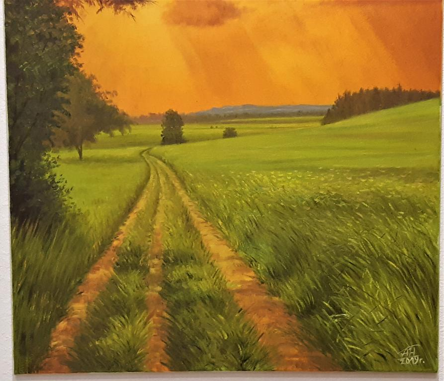 Картина Закат вечерний  Худ ; Наджимидинов А.А. размер ; 80*60 см холст масло С Рубля