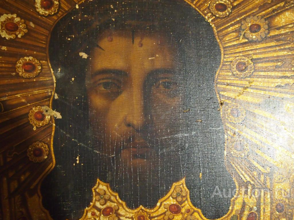 Икона Вседержитель Спас Нерукотворный в Терновом Венце Живопись 19 век
