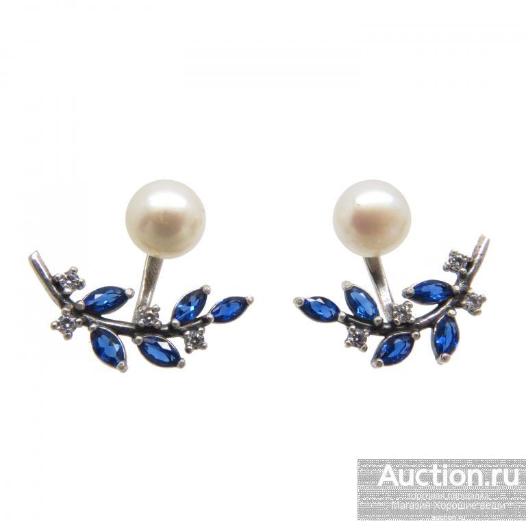 Пусеты с Жемчугом серьги гвоздики синие фианиты сапфиры серёжки модные необычные 2527