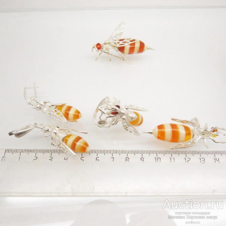 Кольцо Пчела Янтарь оса пчёлка пчёлы большое Посеребрение 999 проба комплект перстень 1139 Р17.5