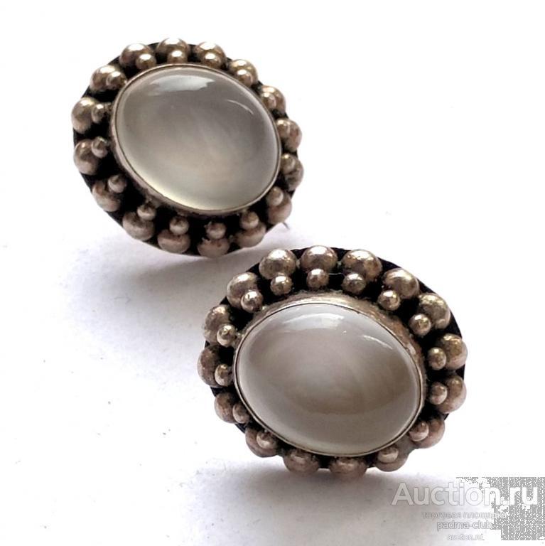 Серьги-пусеты 925 с лунным камнем, зернь, США