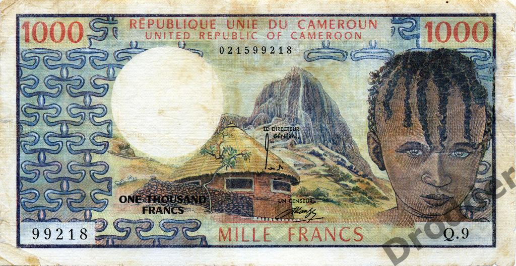 Центральная Африка. Камерун. 1000 франков. 1974. (печать Banque de France)