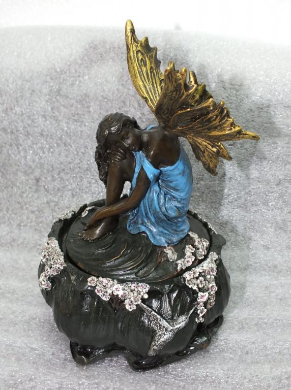 Скульптура Шкатулка ДЮЙМОВОЧКА Цветная Бронза Высота 16 см