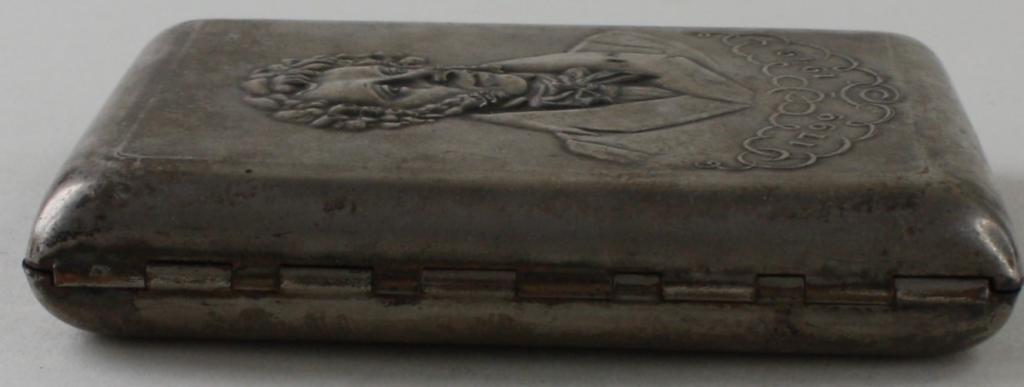 03790720 Портсигар латунь серебрение Пушкин СССР 1949 г