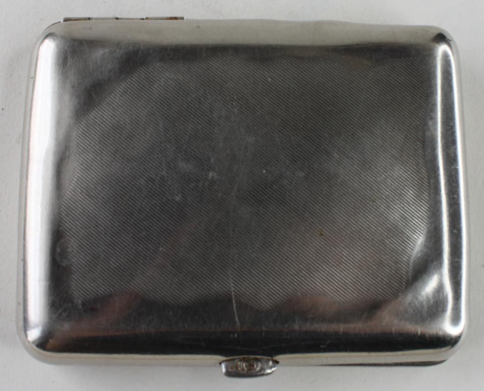 03870720 Портсигар латунь никелированный Парашюты Десант СССР 1960-ые гг