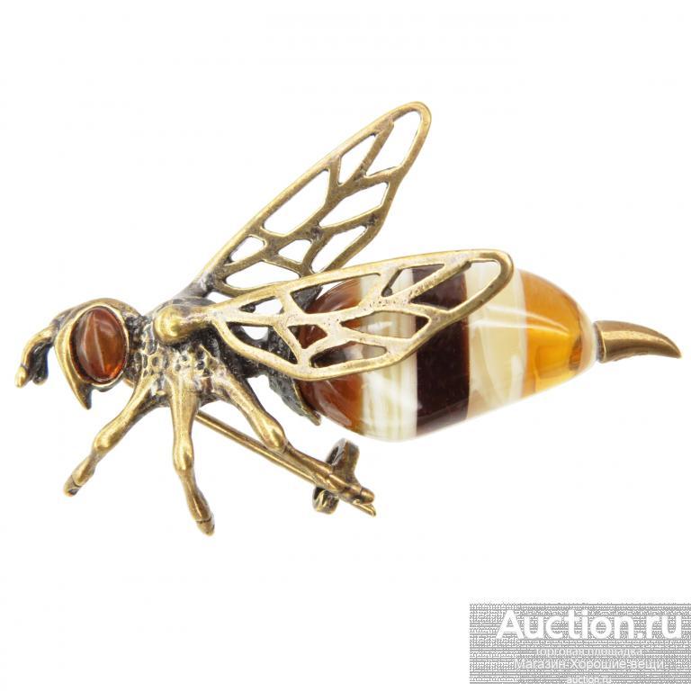 Брошь Пчёла 5.5 см пчела Янтарь бронза Калининград брошка насековые пчёлы красивая необычная 179