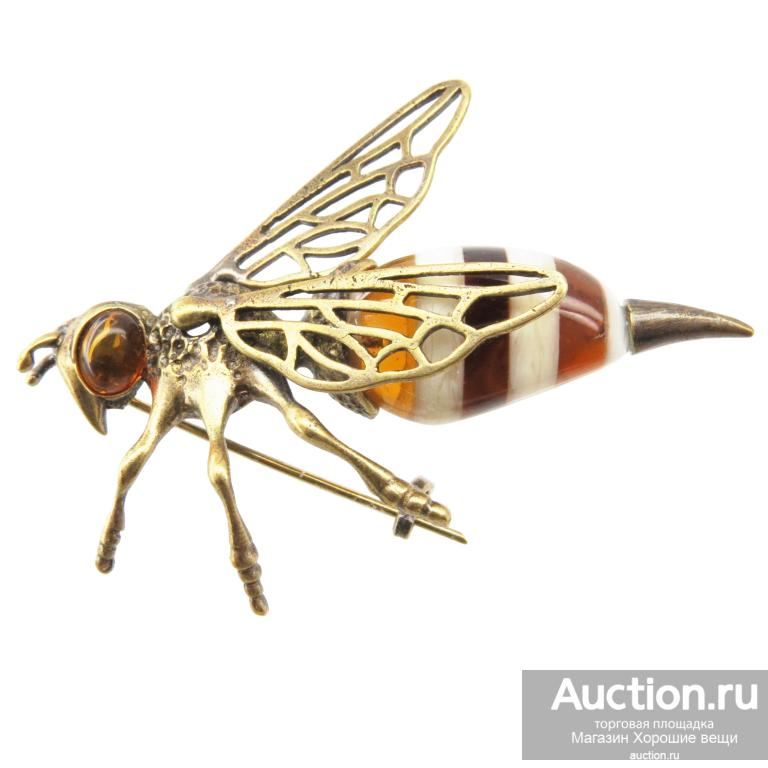 Брошь большая Пчела 7 см пчела Янтарь бронза брошка насековые пчёлы необычно Россия красивая 181
