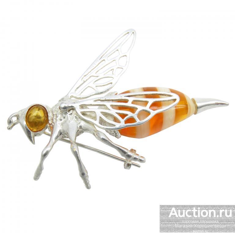 Брошь Пчела 7 см пчёлка оса Янтарь Посеребрение Калининград серебро брошка насекомые большая 181
