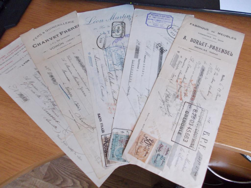 5 антикварных векселей Франции 1920х одним лотом. (для подарков) Все подлинные. АУКЦИОН С 1 рубля