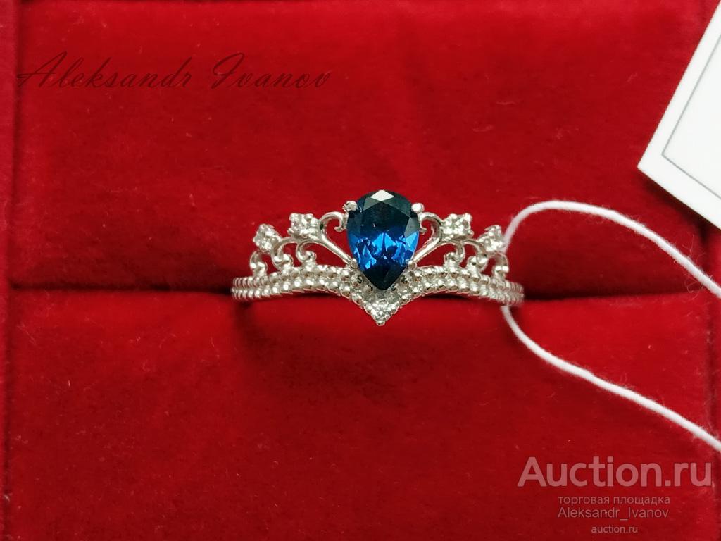 Кольцо женское, покрытие родий, вставка иск шпинель (синяя), фианиты; новое
