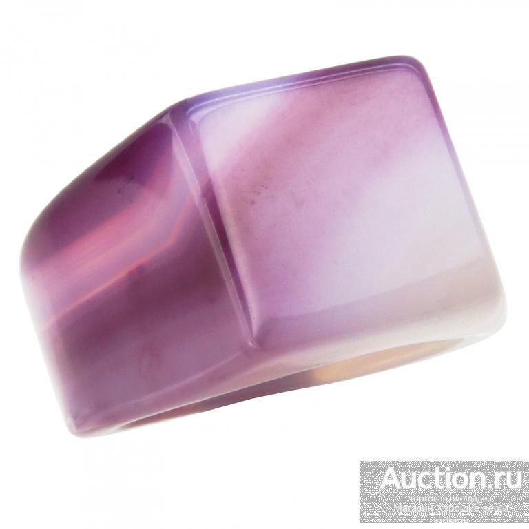 Перстень Агат фиолетовый полосатый камень кольцо 2649 Размер 20