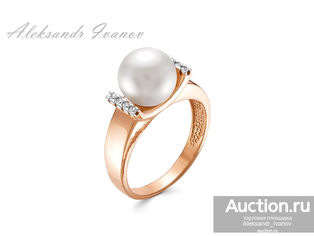 Кольцо, серебро 925 пробы + покрытие золотом, иск. жемчуг, фианиты, 19 размер; новое