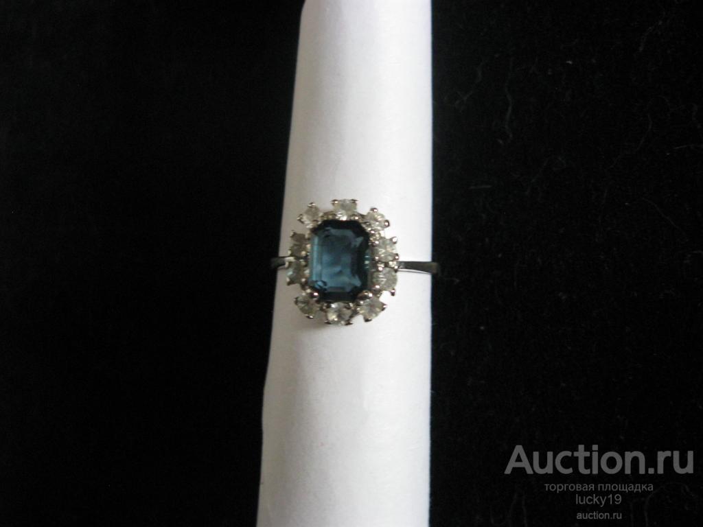 Кольцо серебро 925 проба с фианитами и синим камнем Лондон Топаз (натуральный) ,размер 18,0 СССР