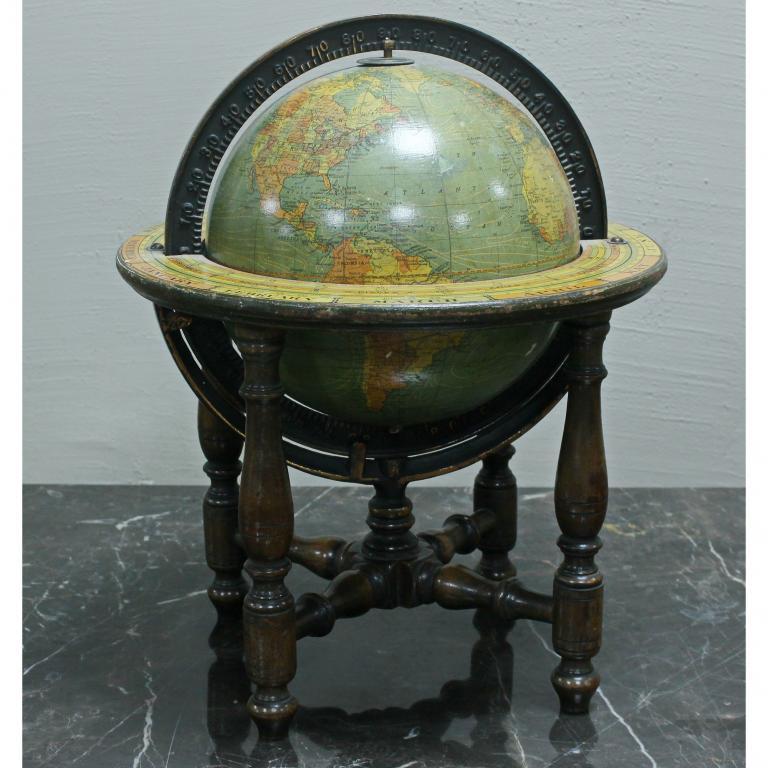 Глобус, американский территориальный с календарем, на подставке, 4 ножки из красного дерева 1930