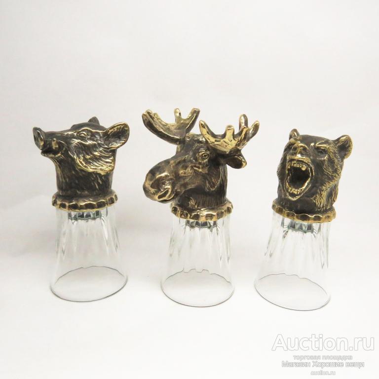 Рюмка сувенирная Лось подарочная ( бронза латунь ) голова лося фигурка литьё скульптура 2439