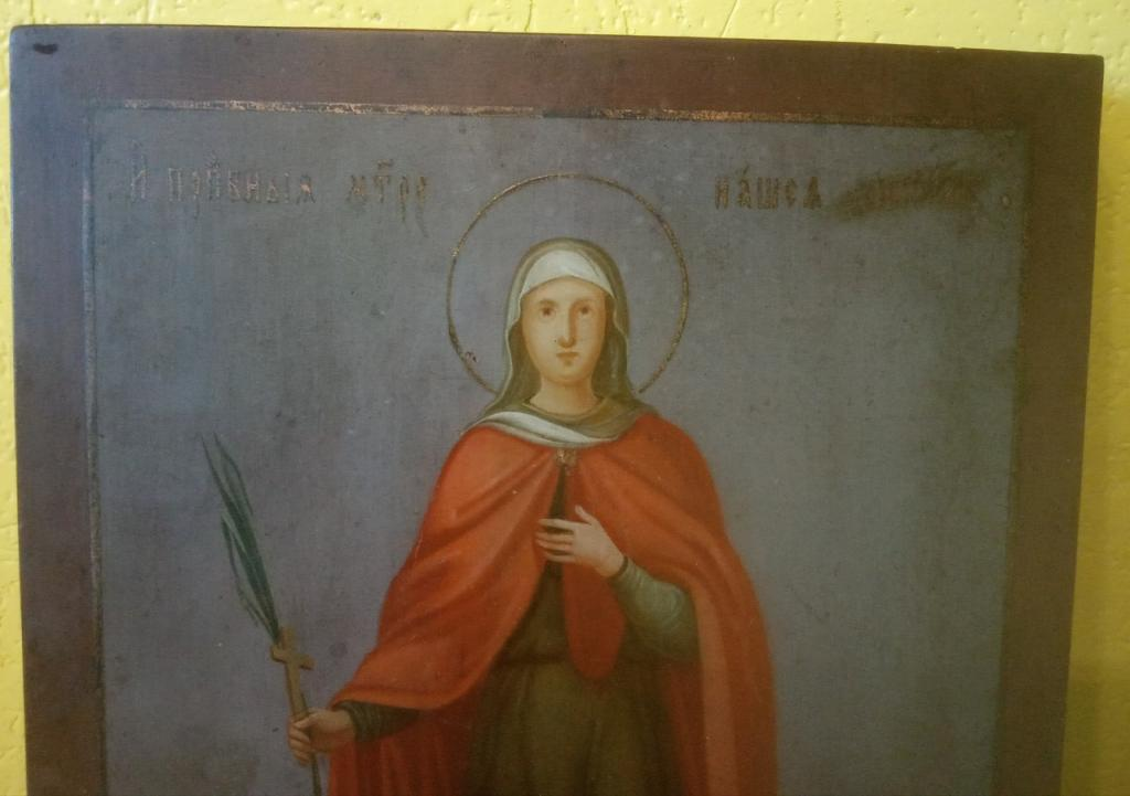 Старинная икона в киоте. Образ Святой Дарии.Редкий сюжет.