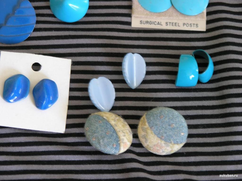 лот бижутерии серьги ретро винтаж синей
