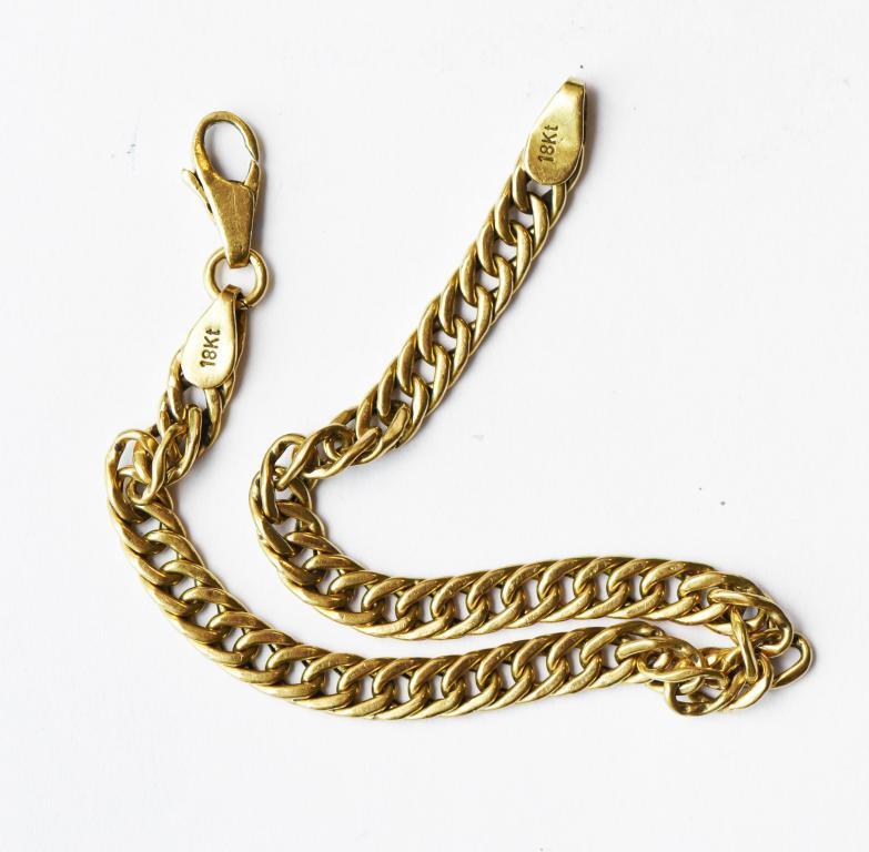 Золотой браслет. Золото 750 проба (18К) Длина 18 см. Вес 7.6 грамм.
