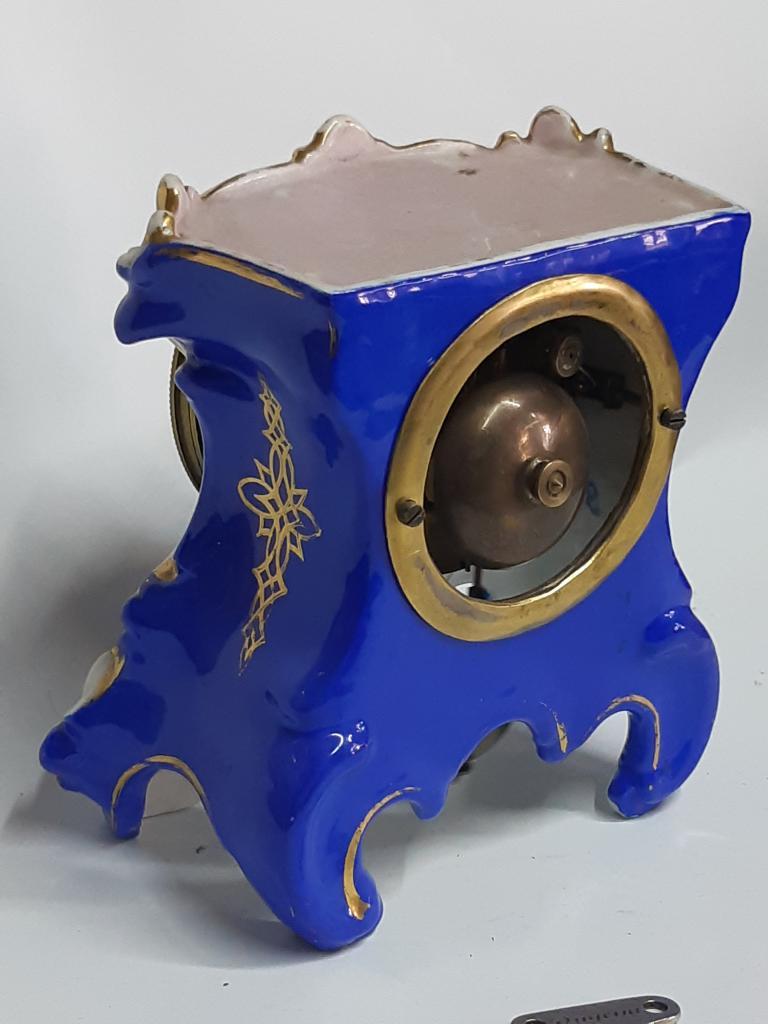 Интерьерные Фарфоровые Каминные Часы 1830 г  Золото КОБАЛЬТ  Франция рабочие с ключем Оригинал h 19