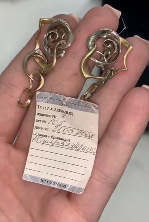 Серьги Завитки Розы, белое и матовое золото 585 пробы, бриллианты , новинка