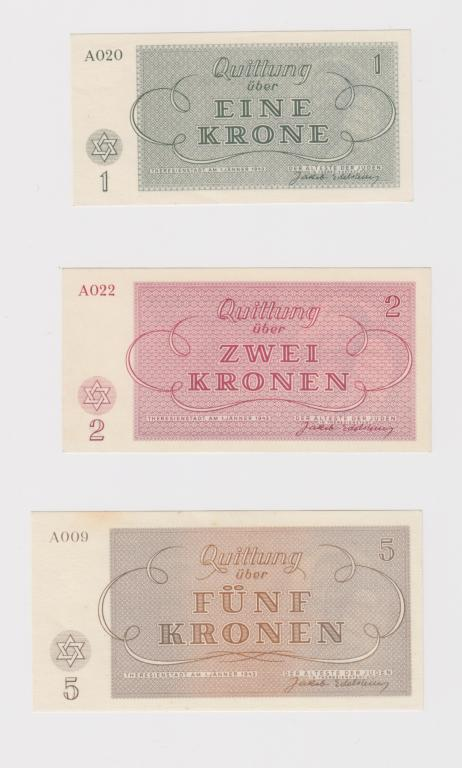 Чехословакия Германия. Еврейское Гетто Терезиенштадт, 1943 Редкие. Без перегибов. 1, 2, 5, 10, 100
