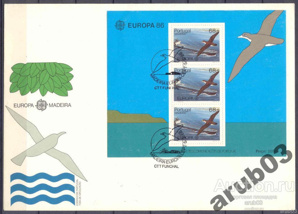 Португалия Мадейра 1986 Корабли Танкер Техника Водный транспорт Фауна Птицы Альбатрос 1блок |F1-64|