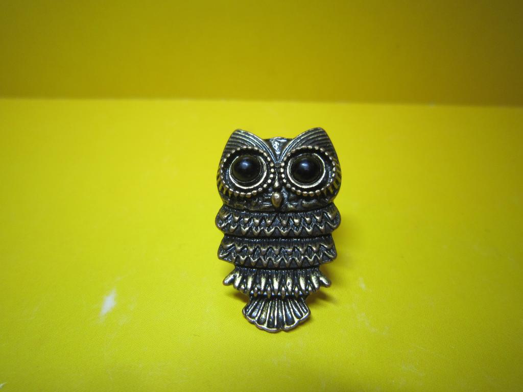 Редкость кольцо Сова птица Филин старый СССР металл шикарный винтаж печатка фигурка