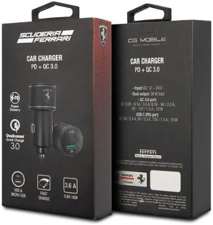 Автомобильное зарядное устройство Ferrari Dual port 36W (USB-C PD18, USB QC 3.0 18W) Aluminium Blac