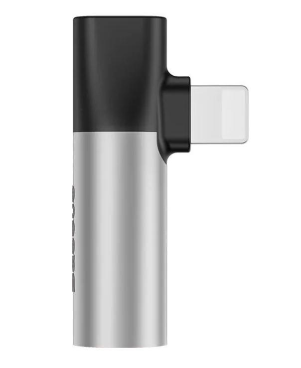 Аудиоадаптер переходник Baseus L43 Lightning Male to Lightning female + 3.5mm female 2A,Silver/Blac