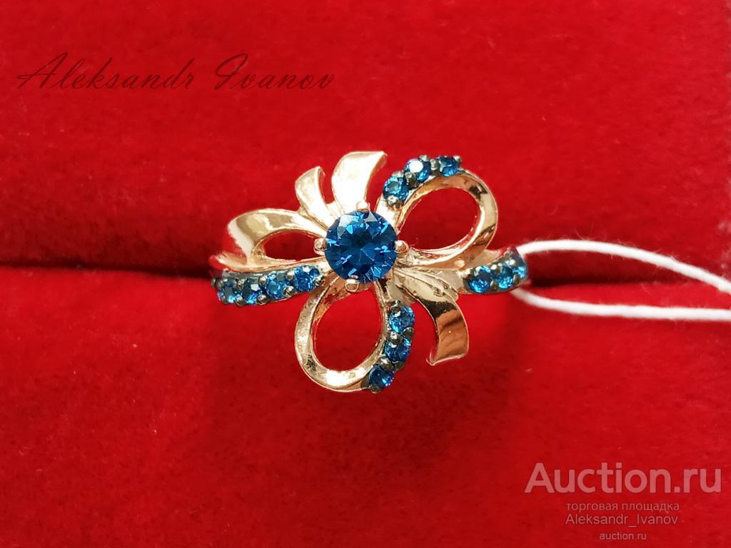 Кольцо фигурное, серебро 925 пробы, покрытие золотом, вставки иск. шпинель, 18 размер; новое
