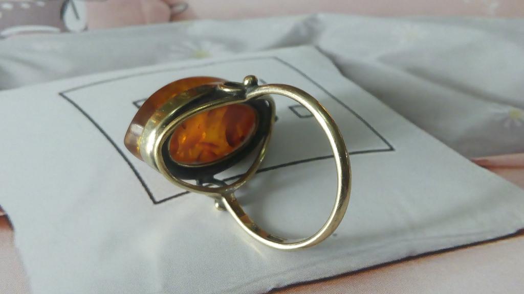 Кольцо серебро 875 пробы СССР с Балтийским янтарем, клеймо ( 7як)
