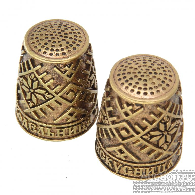 "Напёрсток ""Искусница Рукодельница"" сувенир подарок бронза латунь наперсток 665"
