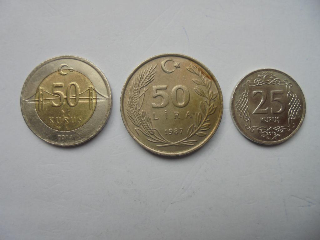 3 монеты одним лотом! ТУРЦИЯ 25; 50; 50 лир и куруш 1987, 2014 и 2019 гг.(Одна-биметалл) .С 1 рубля!