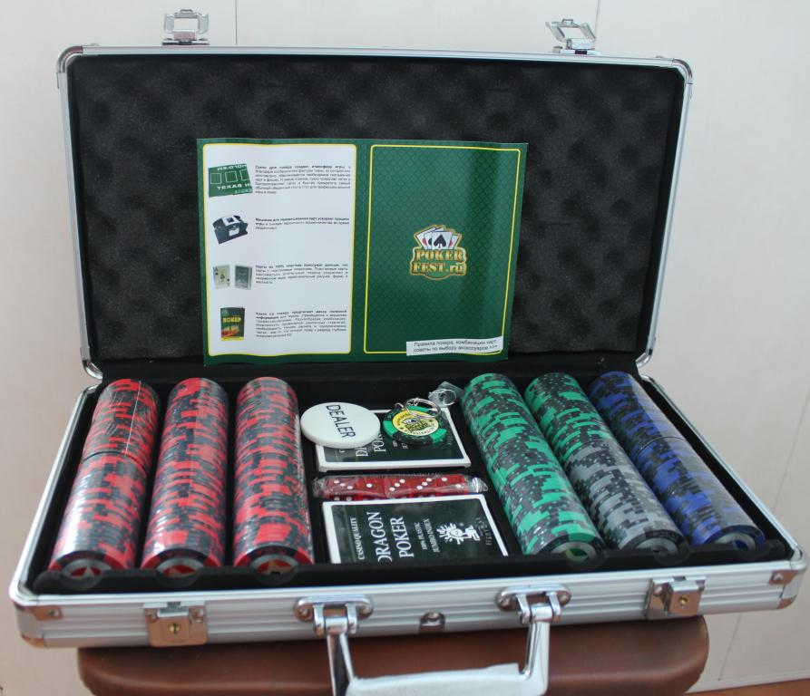 Набор для покера на 300 фишек STARS в алюминиевом кейсе