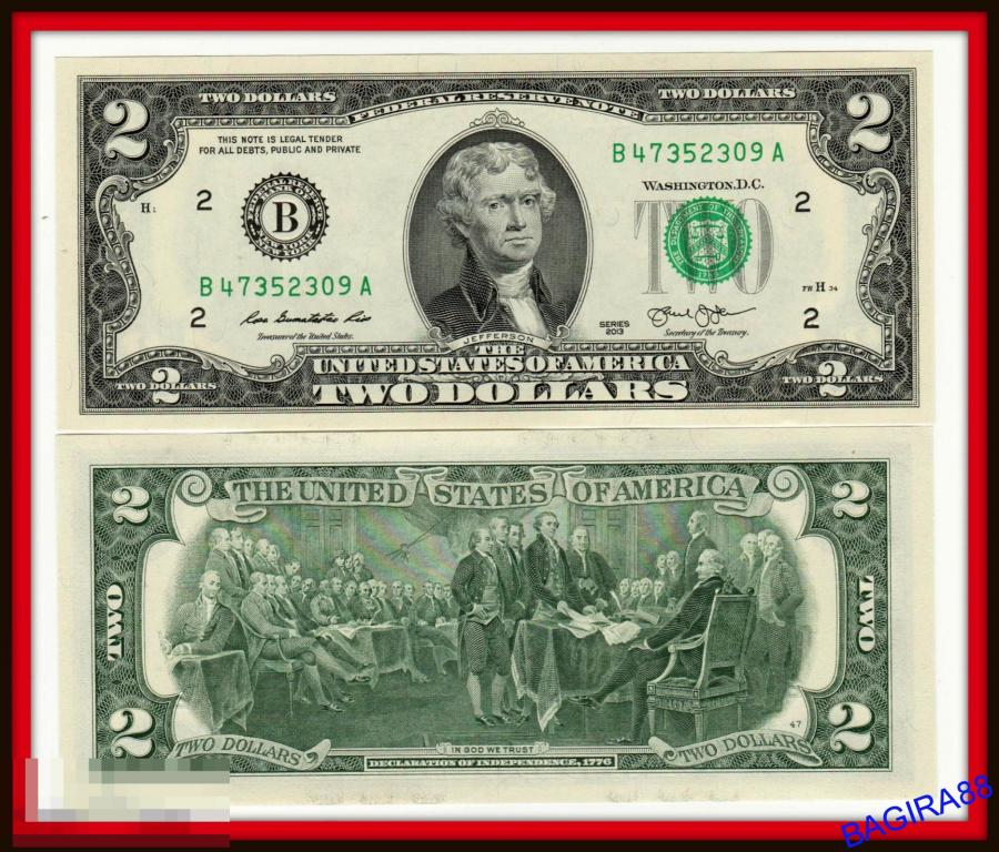 банкнота бона 2 доллара США 2013 год - двор В - БЕЗ ОБРАЩЕНИЯ . ПРЕСС - на УДАЧУ