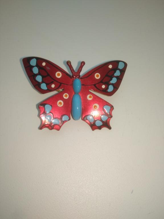 Интересная старинная Брошь Бабочка. Латунь. Эмаль СССР
